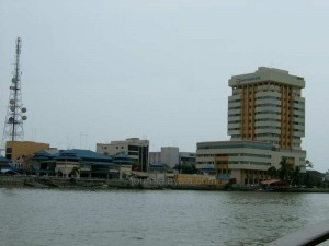 Left: Old Ferry Terminal Right:Muar Traders Hotel, Tallest Hotel in Muar