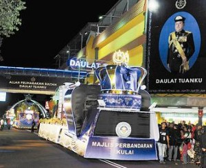 Floats Procession in Muar during the birthday of Johor Sultan