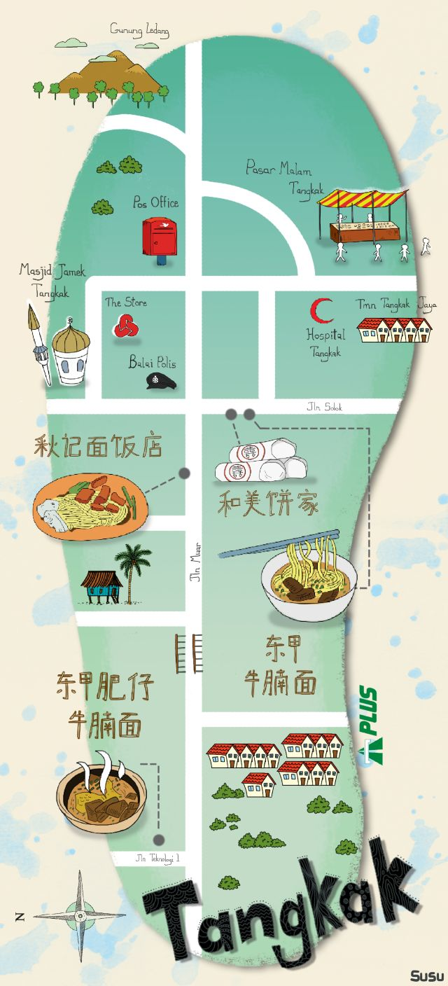 map tangkak food trail
