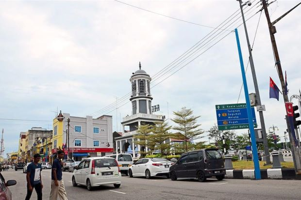 The clock tower of Bandar Maharani in Muar, Johor.